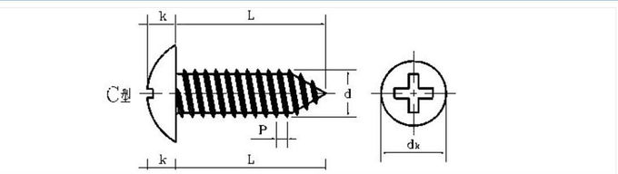 AISI SUS 410 Modify Truss Head Self Tapping Wood Screws Cross Drive JIS Type AB Thread